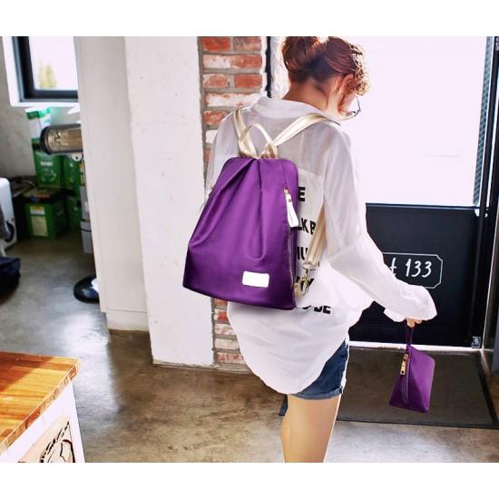 European Version Purple Color Three Piece Backpack Handbag Set WB-71PR image