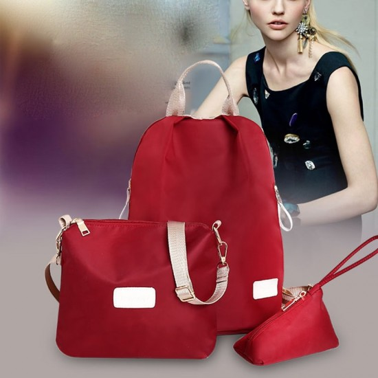 European Version Red Color Three Piece Backpack Handbag Set WB-71RD image