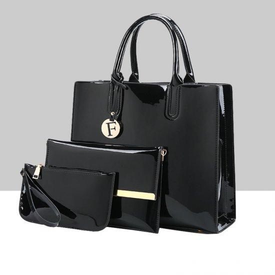 Elegant Luxury Plus Size Three Piece Black Bags Set WB-69BK  image