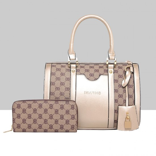 Designer Pattern Cream Contrast Two Piece Shoulder Handbag Set WB-70CR |image