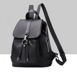 Multi Pocket Soft Leather Black Backpack WB-76BK