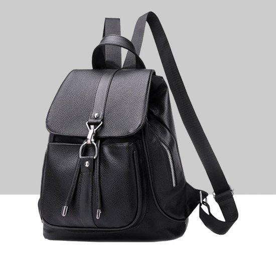 Multi Pocket Soft Leather Black Backpack WB-76BK |image
