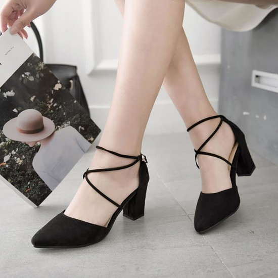 High Heeled American Pointed Suede Women Shoes S-130BK image