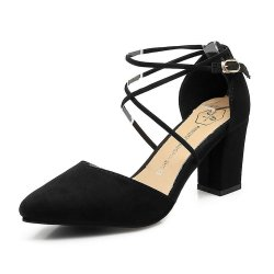 High Heeled American Pointed Suede Women Shoes S-130BK