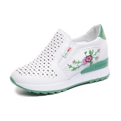 Women Floral Embroidery Sports Shoes - Green Contrast S-129GN