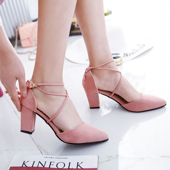 High Heeled American Pointed Suede Women Shoes S-130PK image
