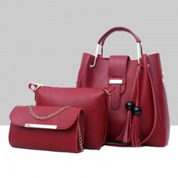 Solid Tassel Hanging PU Red Leather Bag Set WB-77RD