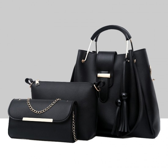 Solid Tassel Hanging PU Black Leather Bag Set WB-77BK |image
