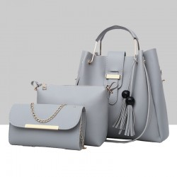 Solid Tassel Hanging PU Grey Leather Bag Set WB-77GR