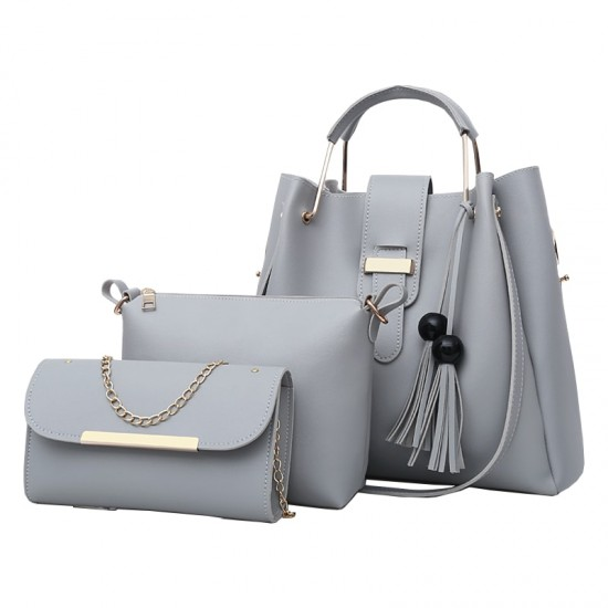 Solid Tassel Hanging PU Grey Leather Bag Set WB-77GR |image