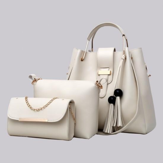 c5d04264fc Buy Solid Tassel Hanging PU Cream Leather Bag Set WB-77CR