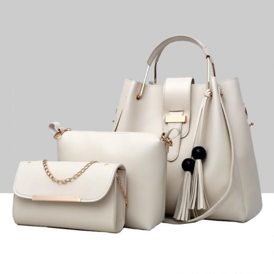Solid Tassel Hanging PU Cream Leather Bag Set WB-77CR |image