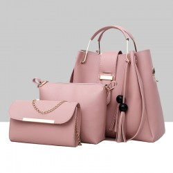 Solid Tassel Hanging PU Pink Leather Bag Set WB-77PK