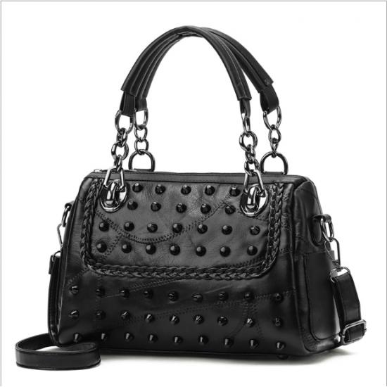 Rivets Decorated Black Leather Shoulder Bag WB-87BK |image