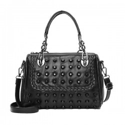 Rivets Decorated Black Leather Shoulder Bag WB-87BK