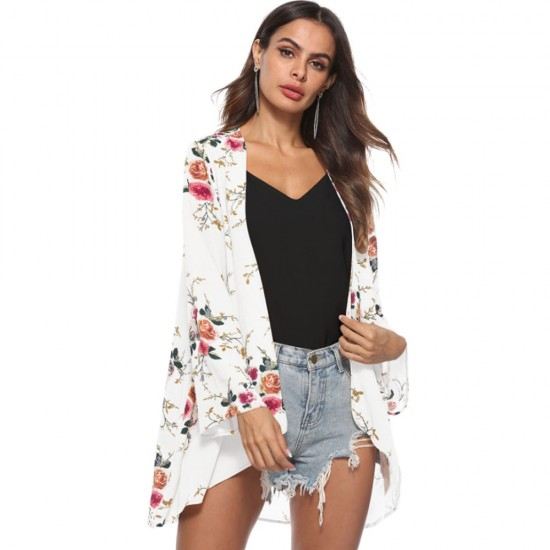 Flower Printed Cardigan White Shrugs WC-262W image