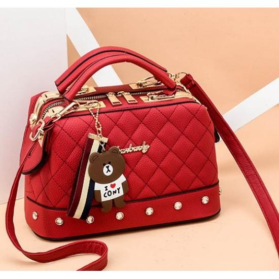 Quilted Premium Red Shoulder Handbag WB-84RD |image
