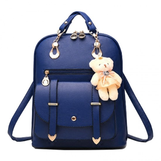 Teddy Bear Hanging Blue Double Strap Backpack WB-85BL  image