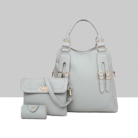 Light Grey Three Piece PU Leather Buckle Handbag Set WB-78GR |image
