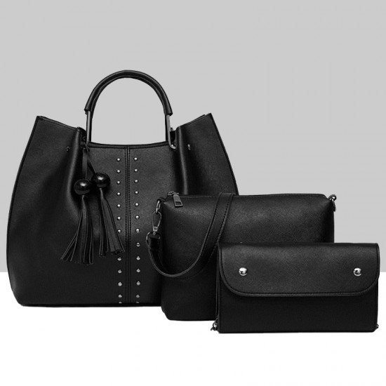 Black Solid Tassel Hanging PU Leather Handbags Set WB-79BK |image