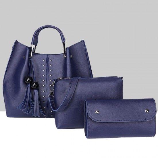 Blue Solid Tassel Hanging PU Leather Handbags Set WB-79BL |image