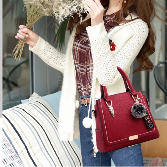 Furry Ball Hanging Red Shoulder Handbag WB-83RD |image