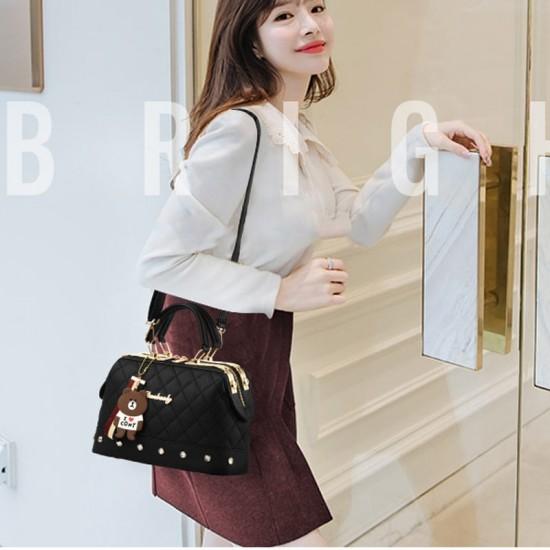 Quilted Premium Black Shoulder Handbag WB-84BK |image
