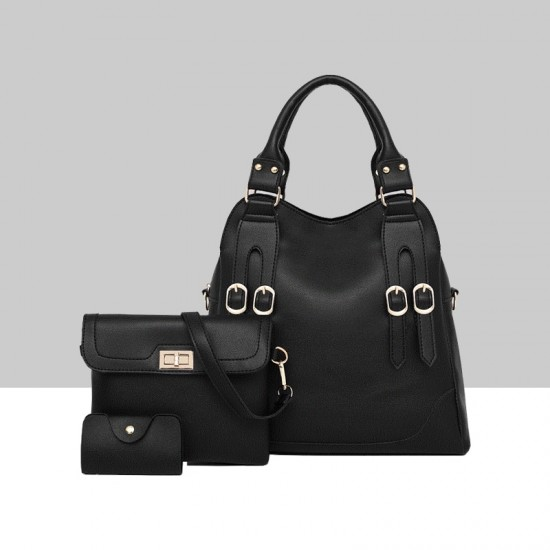 Black Three Piece PU Leather Buckle Handbag Set WB-78BK |image