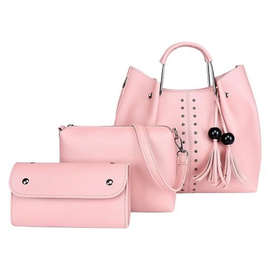 Pink Solid Tassel Hanging PU Leather Handbags Set WB-79PK |image