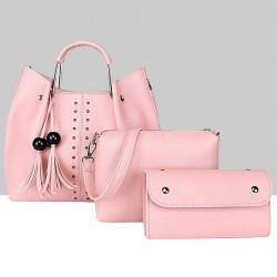 180887fa11 Pink Solid Tassel Hanging PU Leather Handbags Set WB-79PK