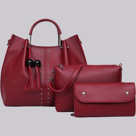 Red Solid Tassel Hanging PU Leather Handbags Set WB-79RD |image