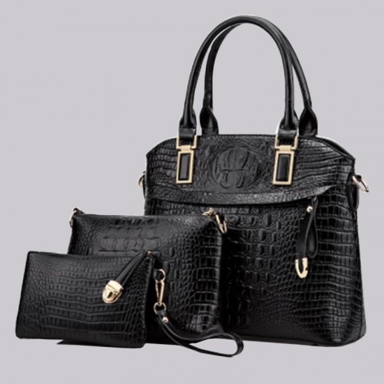 Trending Black Crocodile Pattern Handbag Set WB-80BK |image