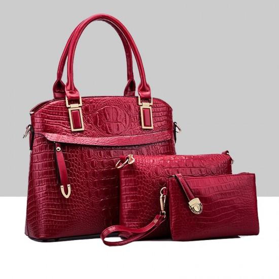 Trending Red Crocodile Pattern Handbag Set WB-80RD |image