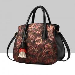 Black Color Rose Printed Pattern Women's Handbag WB-81BK