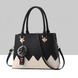 Black With Cream Wavy Contrast Shoulder Handbag WB-88BK