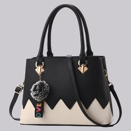Black With Cream Wavy Contrast Shoulder Handbag WB-88BK |image
