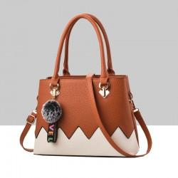 Brown With Cream Wavy Contrast Shoulder Handbag WB-88BR