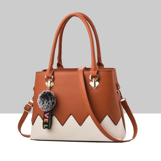Brown With Cream Wavy Contrast Shoulder Handbag WB-88BR |image