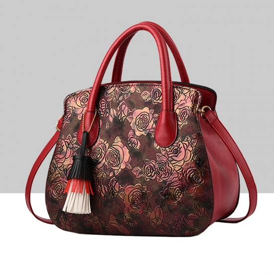 Red Color Rose Printed Pattern Women's Handbag WB-81RD |image