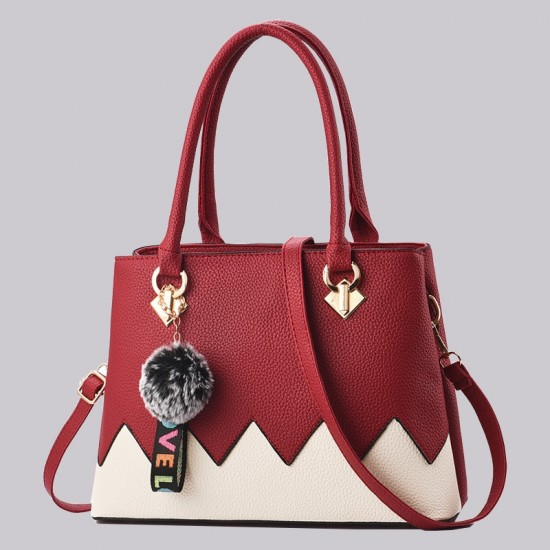 Red With Cream Wavy Contrast Shoulder Handbag WB-88RD |image