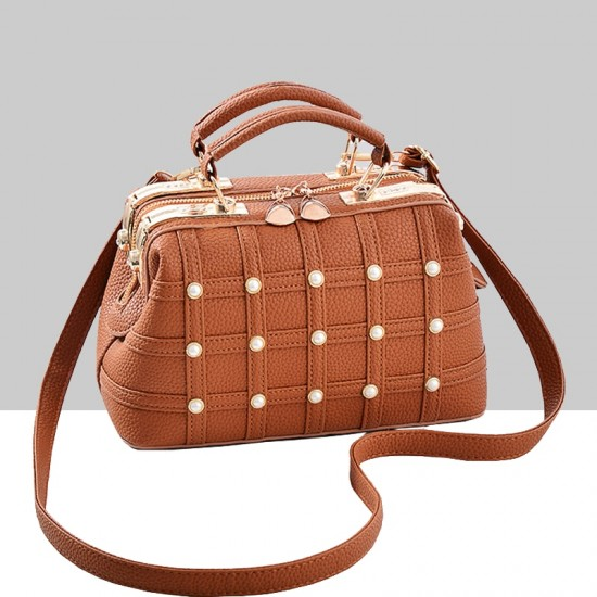 Pearls Decorated Brown Pu Leather Handbag WB-82BR |image