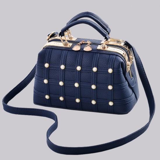 Pearls Decorated Blue Pu Leather Handbag WB-82BL |image