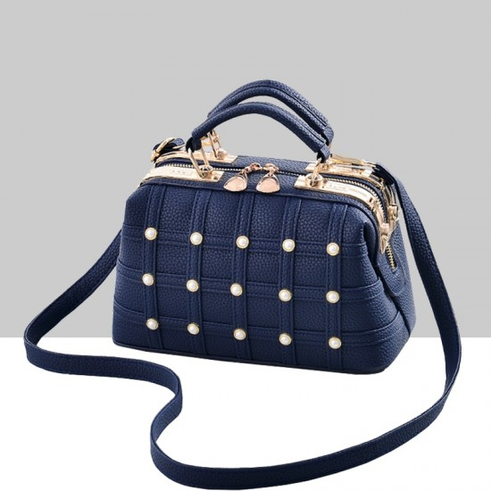 Pearls Decorated Blue Pu Leather Handbag WB-82BL |image