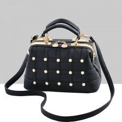 Pearls Decorated Black Pu Leather Handbag WB-82BK