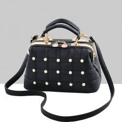 Pearls Decorated Black Pu Leather Handbag WB-82BK