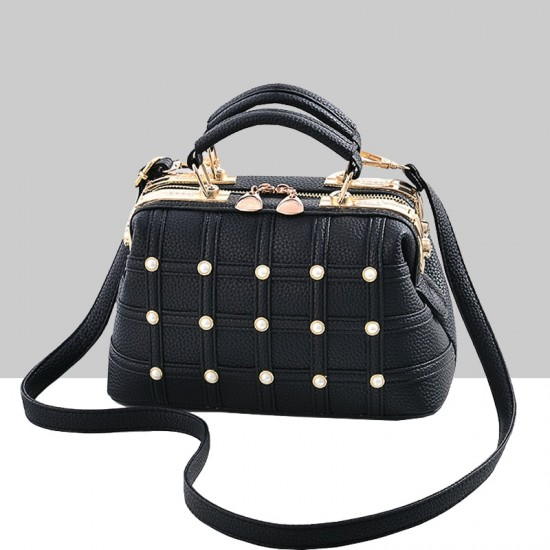 Pearls Decorated Black Pu Leather Handbag WB-82BK  image