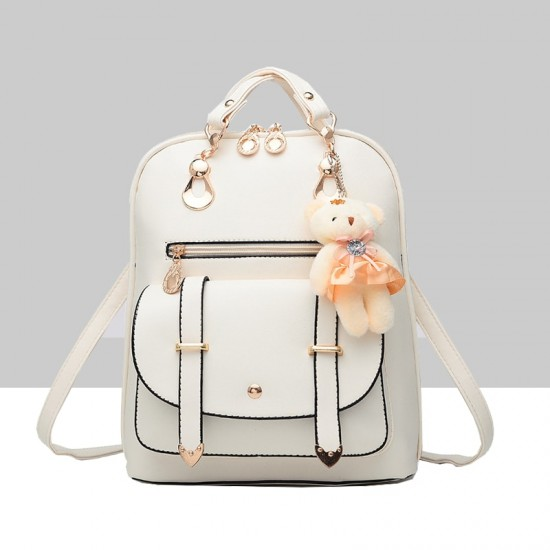 Teddy Bear Hanging Cream Double Strap Backpack WB-85CR |image