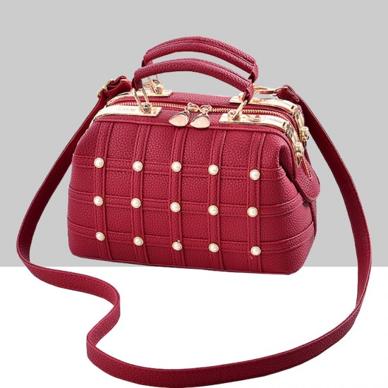 Pearls Decorated Red Pu Leather Handbag WB-82RD |image