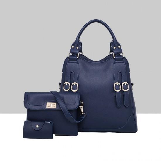 Women's American Style Solid Color Shoulder Handbag WB-78BL image
