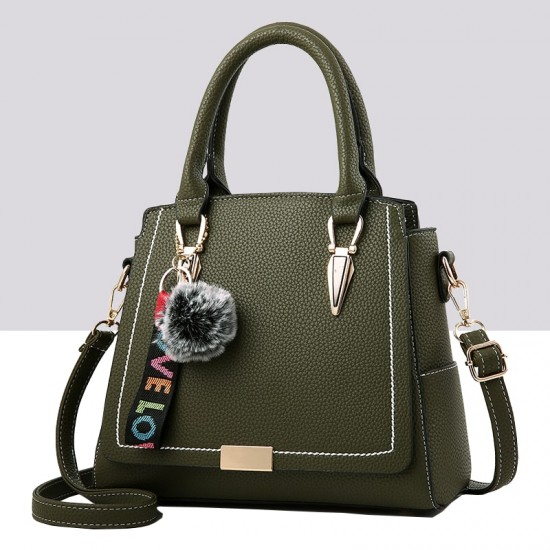 Furry Ball Hanging Green Shoulder Handbag WB-83GN |image